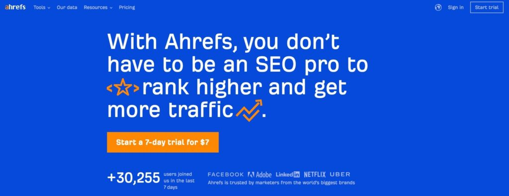 A screenshot of the Ahrefs homepage.