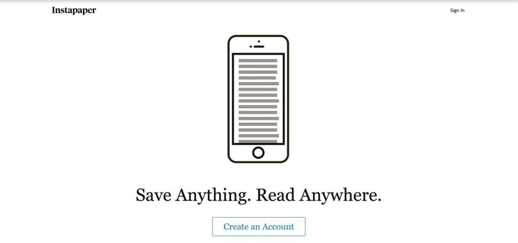A screenshot of the Instapaper homepage.