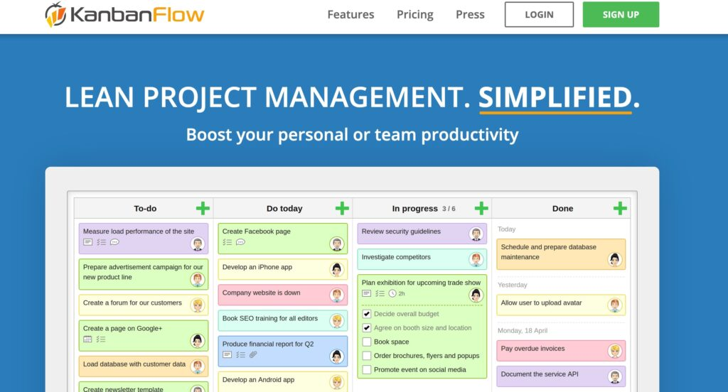 A screenshot of the Kanban Flow homepage.