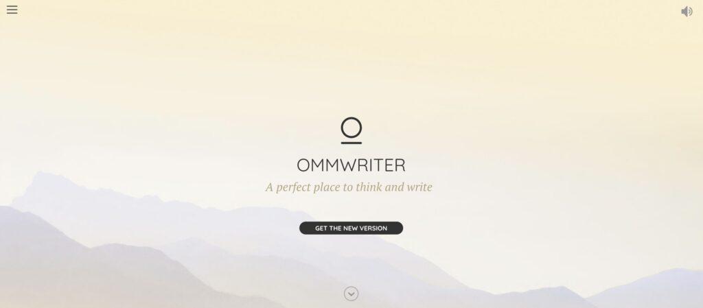 A screenshot of the Ommwriter homepage.