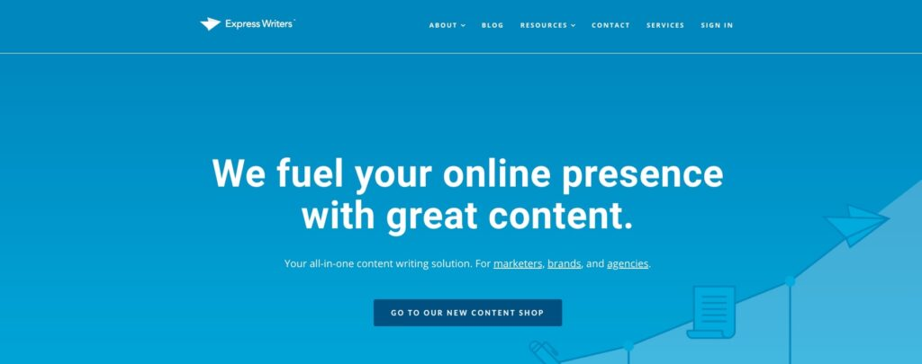 Express Writers homepage screenshot.
