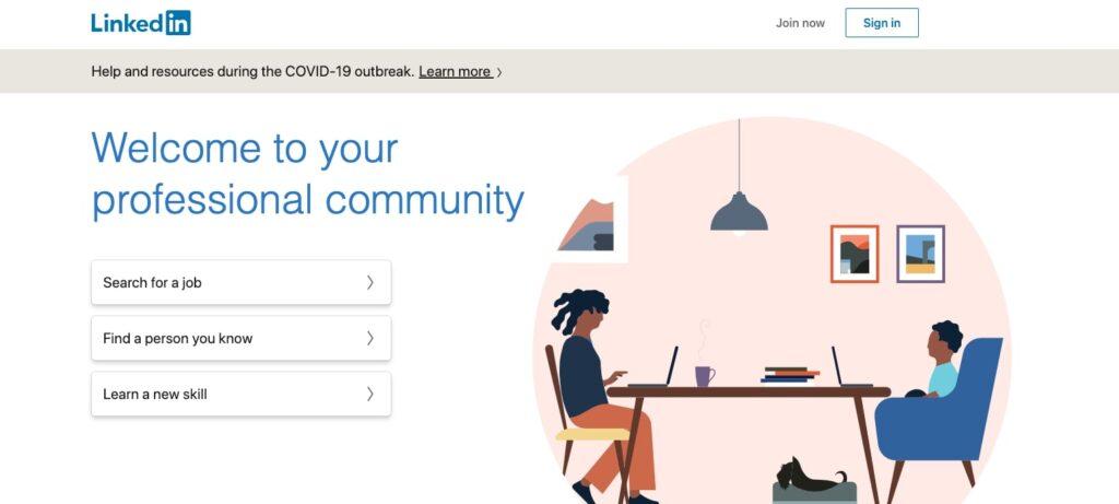 LinkedIn homepage screenshot.