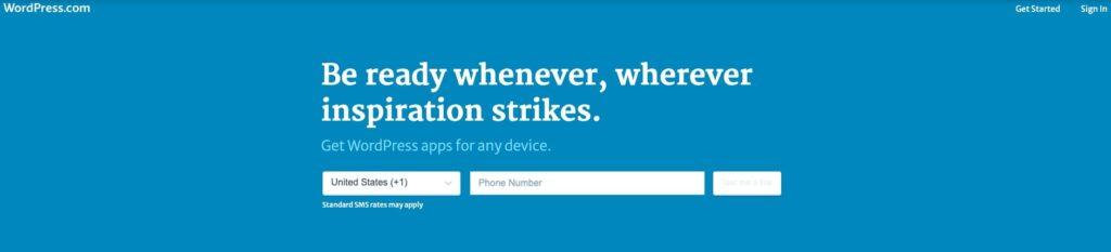 Wordpress homepage screenshot.